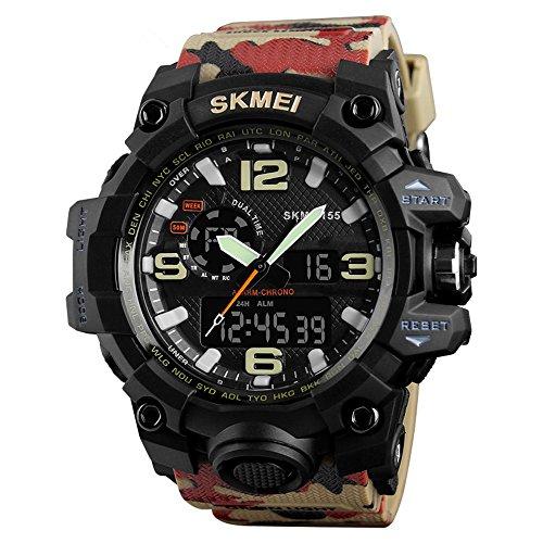 Randon Herren Jacke Analog Digital Quarz Elektronische Militär Sport Uhr Big Dual Zifferblatt Timezone Business Casual Multifunktions Elektronische Handgelenk Uhren (Camouflage)