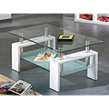 HOGAR24 - Mesa de centro de cristal con patas de madera, color blanco