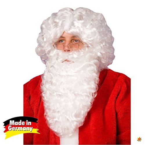 Wilde Bärte Kostüm - Weihnachtsmann Bart und Perücke weiß Nikolaus Kostüm Weihnachten Karneval