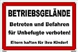 Kleberio® Warn Schild 30 x 20 cm - Betriebsgelände Betreten und Befahren für Unbefugte verboten! - Baustellenschild mit 4 Bohrlöchern (4mm) in den Ecken stabile Aluminiumverbundplatte