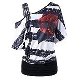 TWIFER Mode Damen Cold Shoulder Kurzarm Skew Neck Trägerlosen Blusendruck T-Shirt Tops (S, Schwarz)