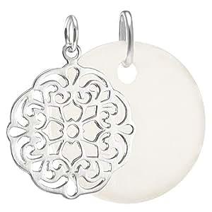 Vinani Pendentif - Fleur Dessin Ornement ouvert - mat lustré - Argent 925 - avec Plaquette Disque moyen blanc - Set - AFO-PL3/W