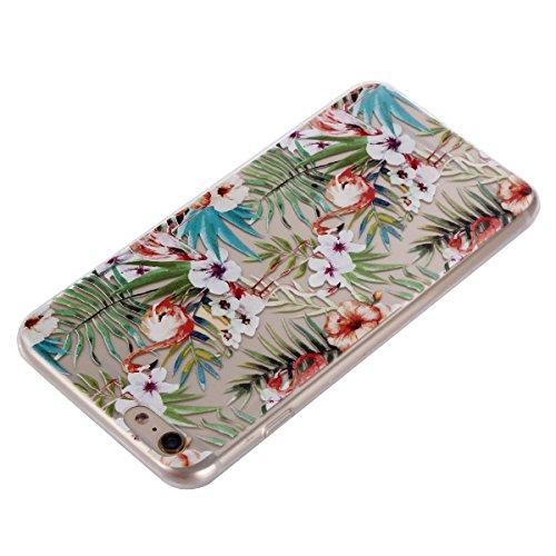 Cover iPhone 6S, Voguecase Custodia Silicone Morbido Flessibile TPU Custodia Case Cover Protettivo Skin Caso Per Apple iPhone 6/6S 4.7(Grande fiore rosa 01) Con Stilo Penna Fenicotteri e fiori