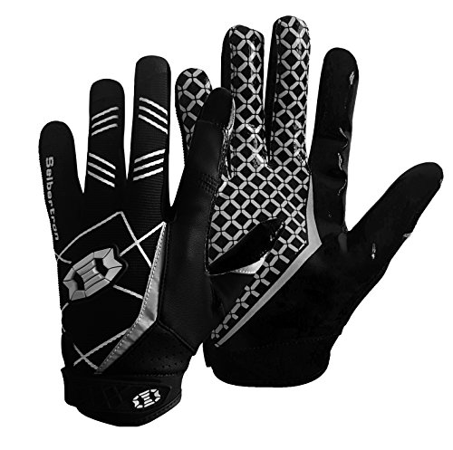Seibertron Pro 3.0 Elite Ultra-Stick Sports Receiver Glove American Football Gloves Youth and Adult/Guantes de fútbol Americano para Juventud y Adulto Black L