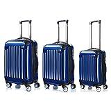 LDUDU ® Hartschalen-Koffer Koffer Trolley Rollkoffer Reisekoffer, Kofferanhänger Handgepäck, 57 cm, 35 Liter, 4 Doppelrollen, Dunkelblau