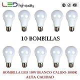 LED Standard (Pack 10 unités) 10 W 200 ° blanc chaud 3000 K E27 805LM 220 V-240 V haute qualité