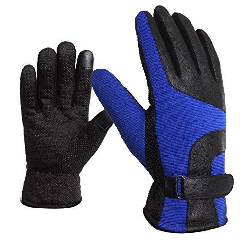 Outdoor Sports Handschuhe Männer Touch Screen Plus Samt Motorrad Warme rutschfeste Handschuhe Sport Reiten Ski Handschuhe (Farbe : EIN, Größe : One Size) -