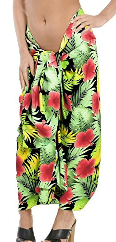 La Leela likre Frauen Pareo Vintage Strand Hibiskus Hawaii 78x39 wickeln Sarong Rot