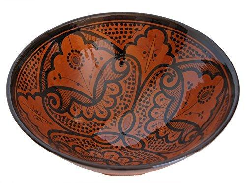 Ceramic Bowls Moroccan Handmade Serving Bowl Cinnamon Brown (Large 12 inches) by Ceramic (Brown Ceramic Bowl)