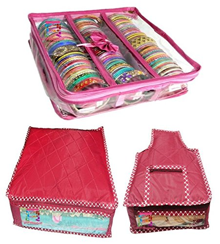 Atorakushon Combo Pink Satin 3 Rods Bangle box, Bracelet Jewellery Box,1 piece...