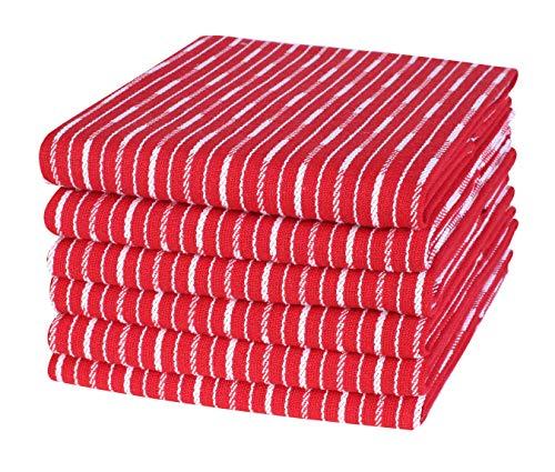 Life By Cotton Brookyn Geschirrtücher, gestreift, 18 x 28 cm, Rot, 6 Stück (Und Weiße Servietten Graue)
