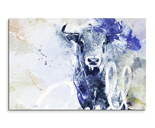 Paul Sinus Art Bild Leinwand 120x80cm Mächtiger Stierkopf in Blautönen mit Kalligraphie