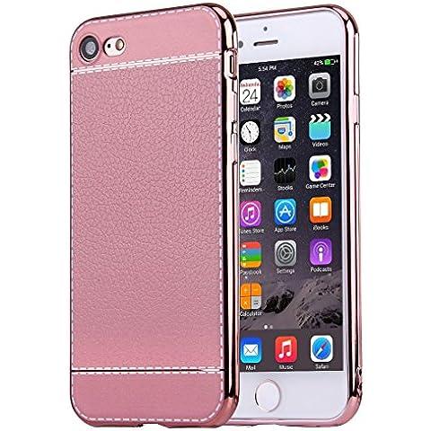 iphone 7 caso, Krygershield® - di lusso in pelle morbida copertura del gel di cristallo flessibile con paraurti elettrolitico in rosa