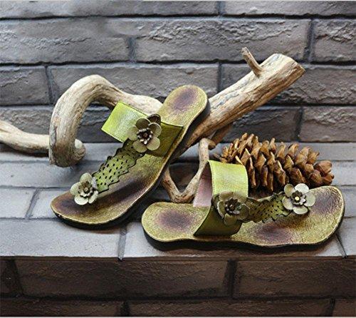moda fiorisce i sandali dei sandali di brevetto sandali di cuoio a spina di pesce delle donne mo green