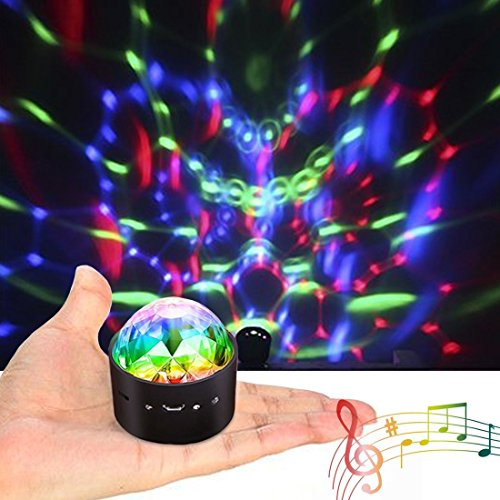 teffekt Mini DJ Balls Licht 3W LED RGB Sound Control USB Charge Magnet Adsorption Portable Bühnenbeleuchtung für Party Home Car KTV Bar Bühnenfeier ()