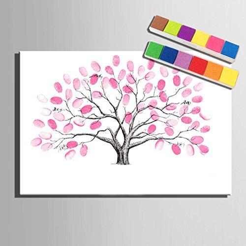 Personalizzato impronta tela stampe su tela - albero rosa (include 12 colori di inchiostro) sposa corallo , blank ,