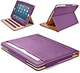 """MOFRED® Purple & Tan Apple iPad 9.7"""" (Launched 2017) Leather Case-MOFRED®- Executive Multi Function Leather Standby Case for Apple New iPad 9.7"""" (2017) with Built-in magnet for Sleep & Awake Feature -- Independently Voted by """"The Daily Telegraph"""" as #1 iPad Case! (Purple & Tan)"""