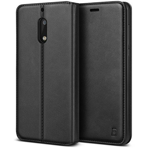 BEZ® Hülle für Nokia 6Hülle, Handyhülle Kompatibel für Nokia 6Tasche Case Schutzhüllen aus Klappetui mit Kreditkartenhaltern, Ständer, Magnetverschluss, Schwarz