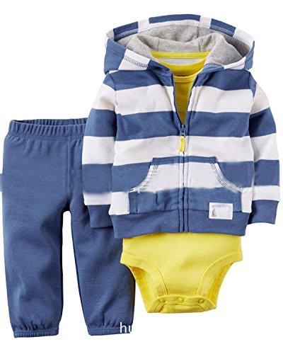 Kidsform Baby Unisex 3 Pack Romper Set Langarm Strampler Lange Hosen Jacke Outfits Body Blau 12 Months