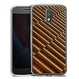 Motorola Moto G4 Plus Slim Case Silikon Hülle Schutzhülle Dachziegel Ziegel Look Muster
