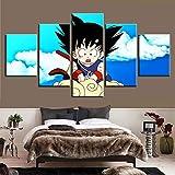 WLQQ Dragon Ball Goku Bunt Leinwandbild Hintergrund Leinwanddrucke Wandkunst Bild auf Leinwand Gemälde Wohnzimmer Schlafzimmer Zuhause Dekorationen 5 Panels Kunstwerk,A,40x60x2+40x80x2+40x100cmx1