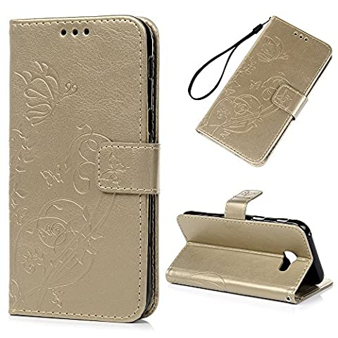 A5 2017 Case ,Galaxy A5 Flip Case, Lanveni A5 2017 Wallet Stand Phone Case Flowers Butterfly Pattern Embossed, PU Leather Case [Card Slots] [Magnetic Buckle Closure] [Detachable Rope] Kickstand Cover For Samsung Galaxy A5 2017