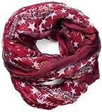 NavyBlu® Loop Schal Schlauchschal mit Stern Design - weiche und warme Qualität rot A08