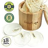 Tampons démaquillants en bambou | Paquet de 16 disques avec un sac de lavage en coton et une boîte en bambou | Doux, écologique et réutilisable | Pour tous les types de peau et lavable en machine