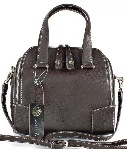 Giostra Florence kleine exklusive Leder Handtasche - made in Italy (28 x 23 x 14 cm) Braun (Dunkelbraun)