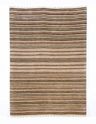 Gabbeh Art Collection Elfenbeinfarben, Braun, und Grau Modernes Wolle Bereich Teppich Modern 2'8