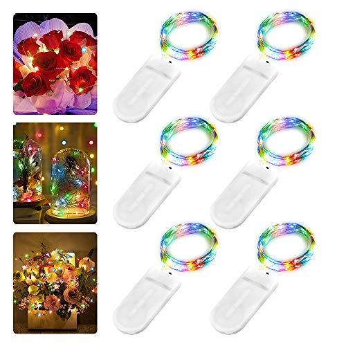 6 Stück LED Lichterkette Batterie, Nasharia 2M 20er LED Kupfer Drahtlichterkette Lichterkette Batteriebetrieben IP65 Wasserfest Fairy Light für Party Weihnachten Hochzeit Beleuchtung Deko, Farbe