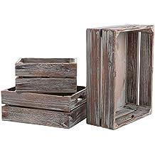 Juego de 3 País rústico acabado marrón madera Nesting cajas/mesa joyas almacenamiento contenedores –