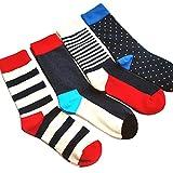 Eleery 4 Paare lange Socken Herren Sportliche Baumwollsocken mehrfabrige Jugendliche Gestreift Muster Socken (Mehrfabrig)