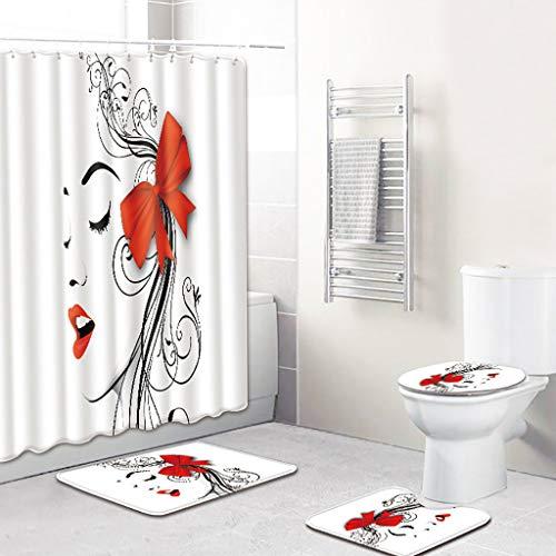 Xmiral Duschvorhänge Badezimmerteppich U-Pad über WC-Sitzkissen 4 Stück Satz Lippe Lippenabdruck Serie(F)