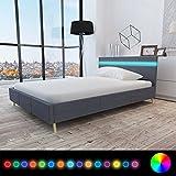 Anself Doppelbett Bett Gästebett 140x200cm mit LED-Licht ohne Matratze Dunkelgrau