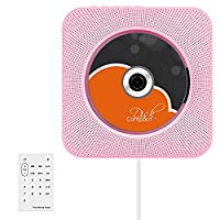 VIFLYKOO CD Player, Bluetooth CD Player Wall Mountable USB MP3 Player HiFi Speaker with Remote Control Innovative Pulling-Switch 3.5mm Headphone Jack AUX input/output,Pink