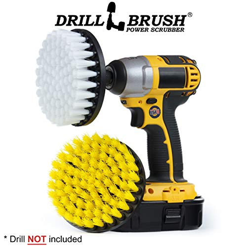 Drill Brush Rust Bath Mat Scrubber Gnome Bird Bath Shower Cleaner Calcium 2-inch Long Bristle Spin Brush Set Shower Curtain Cleaning Supplies Bathroom Accessories Grout Cleaner