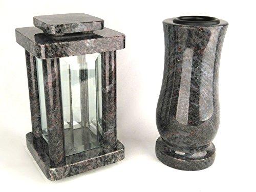 designgrab Modern Grablampe mit Vase aus Granit Orion Blue/Coromandel/Bahama Blue, Grabschmuckset