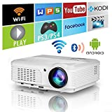 Smart Android Video Projektor mit Wifi Bluetooth HD WXGA 3200 Lumens LED LCD Wireless Bluetooth Projektor 1080p Airplay HDMI USB VGA AV Audio Out für Heimkino-Filme Spiele im Freien DVD PS4 Telefone