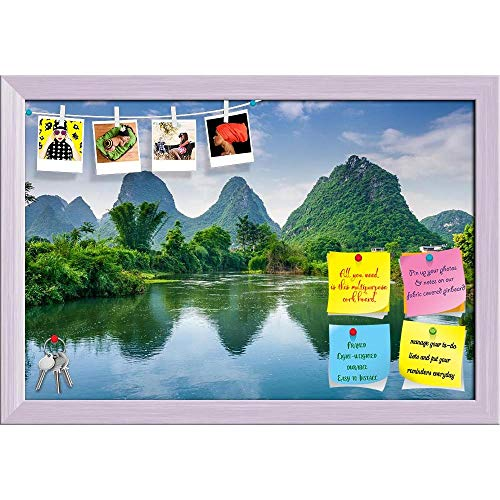 Artzfolio Karst Mountain Landscape In Guilin, China Printed Bulletin Board Notice Pin Board | White Frame 23.5 X 16Inch