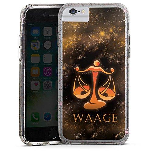 Apple iPhone 8 Bumper Hülle Bumper Case Glitzer Hülle Balance Waage Sternzeichen Bumper Case Glitzer rose gold