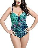 ShiFan Damen Große Größen Retro Badeanzug Rückenfrei Bauchweg Monokini mit Blumen Grün 56