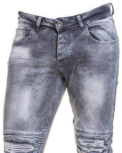 BLZ jeans - Jean verblasste grau Mann mit Reißverschluss gerissen Grau