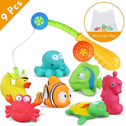 Lehoo Castle Badespielzeug Baby ab 1 Jahr, Badewanne Spielzeug mit aufbewahrung, Wasserspiel Entchen Angeln Schwimmenden Fisch Badespielzeug , 9pcs Ozean Tier Wasserspielzeug Kinder