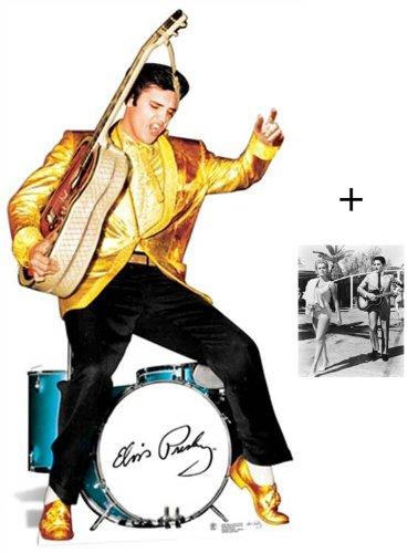 Fanbündel - Elvis Presley Gold Jacket and Drums Lebensgrosse Pappfiguren / Stehplatzinhaber / Aufsteller - Enthält 8X10 (25X20Cm) starfoto -