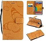 Hozor Samsung Galaxy Note 3 / SM-N9000 Handyhülle, Retro Großer Schmetterling Muster PU Kunstleder Ledercase Brieftasche Kartenfächer Schutzhülle mit Standfunktion Magnetverschluss Flip Cover Tasche, Goldgelb