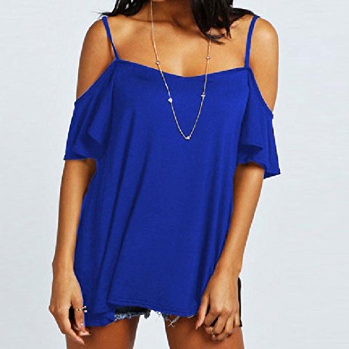 Bluestercool Mode Women Casual Off Shoulder Solid Stretch Top Tees Blouse Tops Blau
