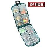 Fish Master 157 Set Esche Accessori per Esche da Pesca Compreso Maniche Ganci Bastoncini per Karaoke Set di Pesca con Fibbia Rotante con Scatola per Attrezzatura da Pesca,157PIECES