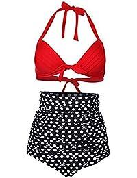 Para mujer Diseño de flores y Hot diseño de lunares de natación para el botón de antigua de Bikini de succión con sus bañadores para que los bañadores de