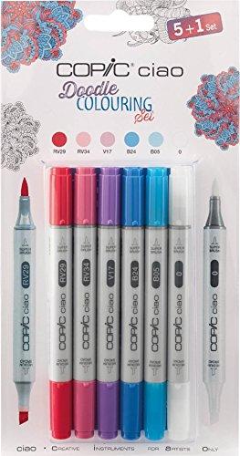 COPIC Doodle Farbgebung 5+ 1Set inkl. 5Farben (RV29, RV34, V17, B24, B05) Plus ein Mixer, ideal zu Verwendung mit Copic Doodle Malbuch